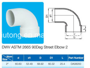Plastic 90deg Street Elbow ASTM D2665 Standard for Dwv Drain Water with NSF Certificate pictures & photos