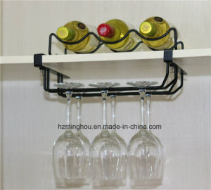 Metal Wire Kitchen Bar Wall Wine Rack W/ Glass Shelf pictures & photos