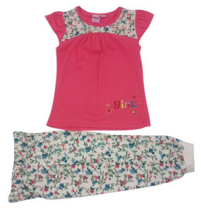 Summer Baby Flower Pajamas with Print Over Leggings