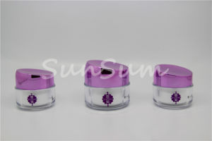 100ml Frosted Cosmetic Pet Cream Jar with Plating Color Lid pictures & photos