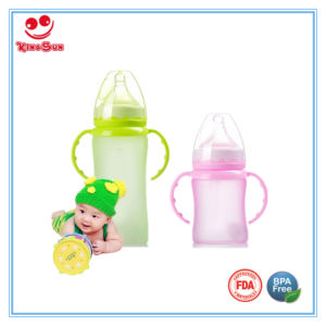 Newborn Blue Glass Feedingbottles Blue with Silicone Coating pictures & photos