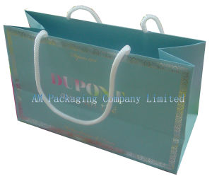 Laminated Coated Paper Shopping Bag for Garments with White Cotton Handles pictures & photos