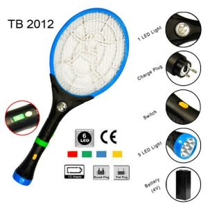 Hot Blue Rechargeable Mosquito Swatter with Flashlight TB-2012