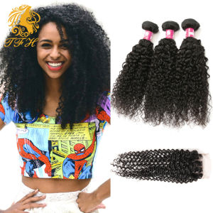 Brazilian Curly Hair with Closure Brazilian Jerry Curl Lace Closure Unprocessed Brazilian Virgin Hair Lace Closure with Bundles pictures & photos