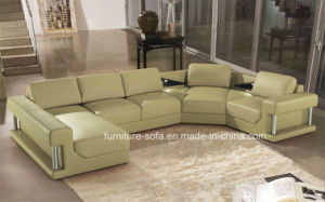 Big Wood Feature Modern Furniture Whitel Top Leather Sofa (S003)