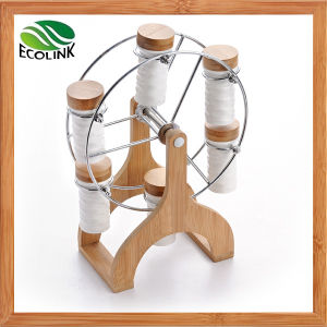 Sky Wheel Shape Bamboo Rack with 6 Ceramic Spice Jar pictures & photos