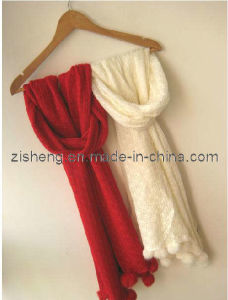 Knitted Scarf with Pompon (ZSKS-0063)
