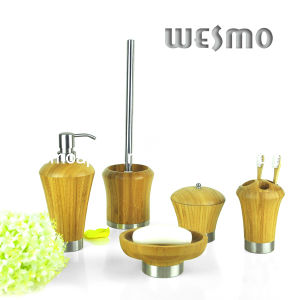 Bamboo Bathroom Accessory with Metal Bottom (WBB0465A) pictures & photos