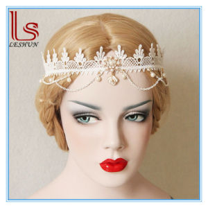 Baroque Wedding Forehead Lace and Pearl Headband pictures & photos