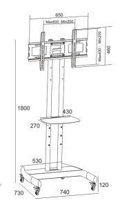 """Metal TV Stand / Trolley Sav 107 Wheelbase Telescopic Tube 30-60"""" (SAV 107A) pictures & photos"""
