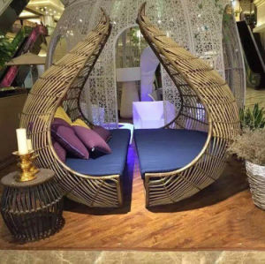 Bird′s Nest Sunshine Lounge Beach Circular Dome Garden Furniture Rattan Sunbed T585 pictures & photos