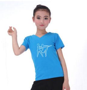 180 GSM 95% Cotton 5% Spandex Girls T Shirt for Dance/Gymnastics pictures & photos