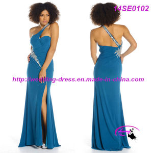 Blue One Shoulder Spandex Jersey Dress with Front Slim pictures & photos