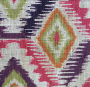 Digital Printed Ikat Design Faux Linen Sofa Fabrics