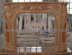 Marble Fireplace with Stone Carving Mantel (QY-LS206) pictures & photos