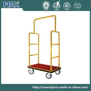 High Quality Titanium Gold Plated Hotel Luggage Trolley pictures & photos