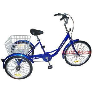 Pedal Assisted Tricycle Single Speed Three Wheeler pictures & photos