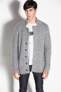 Acrylic Mohair Wool Knit Men Cardigan with Button pictures & photos