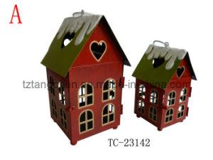Metal House Lantern for Christmas Decoration (TC-23142)