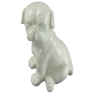 Animal Shaped Ceramic Craft, Crouching Dog with White Glaze pictures & photos
