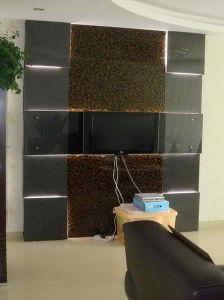 Phantom 3D Art Glass for TV Background (Black Vertical & Gold Little Cloth)