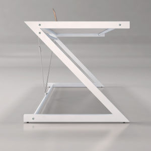 Office Furniture Glass Table with Z-Shaped Metal Base for Home Computer Use pictures & photos