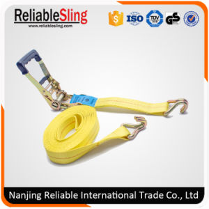 "2"" 10000 Lbs Yellow Polyester Rubber Ratchet Cargo Packing Lashing Strap pictures & photos"