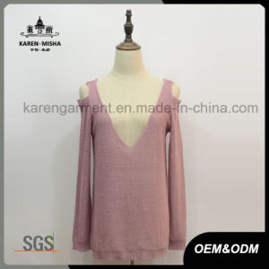 Lady Cut off Shoulder Plunging V-Neck Neckline Sexy Knitwear pictures & photos