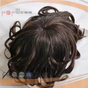 Short Wavy Hair Mens System Poly Border Toupee Human Hair pictures & photos