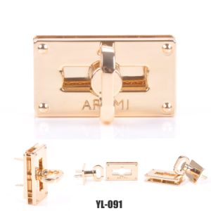 Light Gold with Epoxy Zinc Alloy Material Purse Lock Square Shape