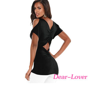 Fashion Ruched Open Back Cold Shoulder Top pictures & photos