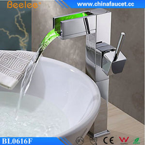 Beelee New Design Water Power Waterfall Bathroom LED Faucet