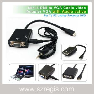 Mini HDMI to VGA Adapter Coaxial Cable with Audio pictures & photos