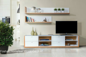 Original Design Wood Wall Shelving Unit TV Stand (HF-EY082511) pictures & photos
