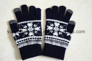 Knitted Acrylic Warm Jacquard Magic Gloves/Mittens pictures & photos