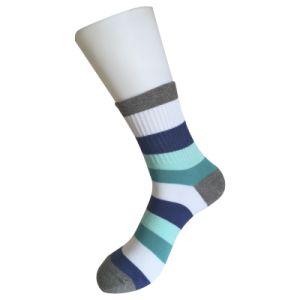 Flat Knit Cotton Thick Stripe Dress Socks (JMDS01) pictures & photos