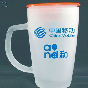 350ml Cheap White Frosted Glass Cup with Handle (DC-HXG-2-350) pictures & photos