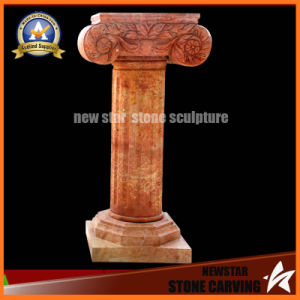 Yellow Marble Stone Carved Pillar (NS-11C19) pictures & photos