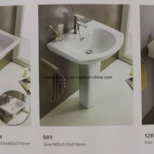 P40 Stock Promotion Pedestal Sink, Bathroom Lavatory, Pedestal Washbasin pictures & photos