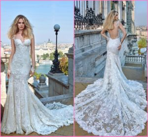 Spaghetti Backless Bridal Wedding Gown Mermaid Lace Wedding Dress Gw1605 pictures & photos