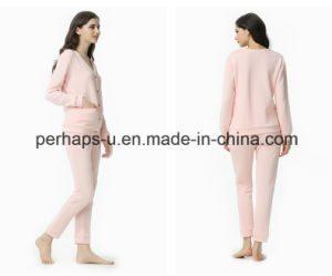 High Quality Spring and Autumn Long-Sleeved Cardigan Cotton Pajamas pictures & photos