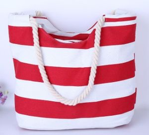 Big Rope Handle Canvas Beach Tote Bag, Beach Bag (H39) pictures & photos