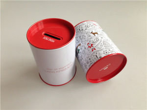 Christmas Coin Bank Tin Can with Small Size 75mm Diameter pictures & photos
