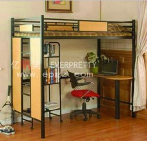 wood metal three kids bunk bed with stairs desk drawers dormitory wooden bun bed sf20r