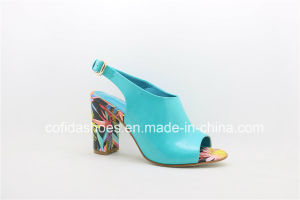 Updated Handmade Chunky Heel Lady Sandal Shoes pictures & photos