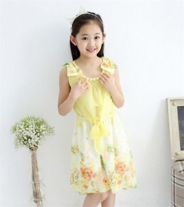 Girl′s Floral Tulip Hem Bow Knot Shoulder Chiffon Dress pictures & photos
