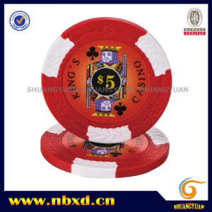 14G 2-Tone King′s Casino Clay Poker Chip with Custom Stickers pictures & photos