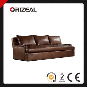 Orizeal Classic Roll Arm Genuine Brazilian Leather Sofa (OZ-LS-2009) pictures & photos
