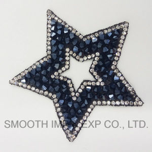 Fashion Five-Pointed Star Embroidery Rhinestone Iron on Patch Bead pictures & photos