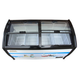 One Compressor Toughened Coating Glass Doors Ice Cream Freezer pictures & photos